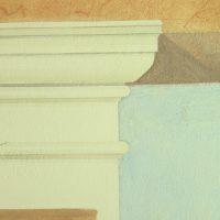 Detailansicht eines gemalten Kapitells
